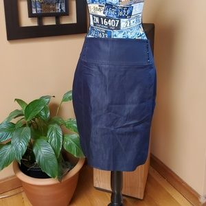 EXPRESS NAVY BLUE SHIMMERY HI WAISTED PENCIL SKIRT